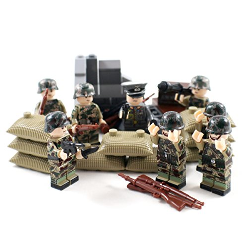 Woodland Camo WW2 Minifigure Army Soldiers - Military Building Block Figures by Shantou Blocks