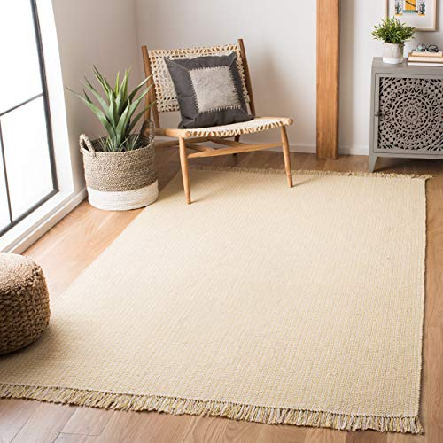 Safavieh Montauk Collection MTK340E Handmade Flatweave Ivory and Yellow Cotton Area Rug 4 x 6