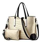 XIN BARLEY Women Shoulder Bag 2 Piece Tote Bag Pu Leather Handbag Purse Bags Set Gold