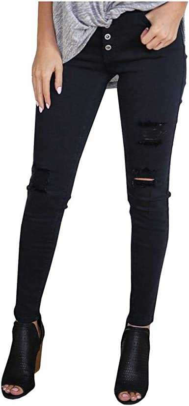 Womens High Waist Stretchy Denim Jeans Pants Buttons Skinny Jeggings Trousers