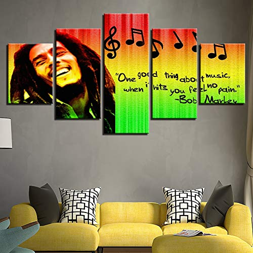 (kkxdp Framed Hd Prints 5 Pieces Pictures Home Decor Modular Canvas Wall Art Bob Marley Painting for Living Room Music Poster Bedroom Poster-B)
