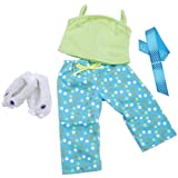 Springfield Collection Pajama Outfit, Green Top, Dot Pants, Slippers and Ribbon, Baby & Kids Zone