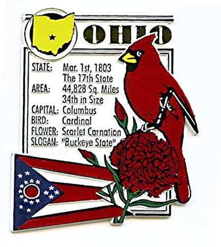 Ohio State Bird Flower (Ohio The Buckeye State Montage Fridge Magnet)