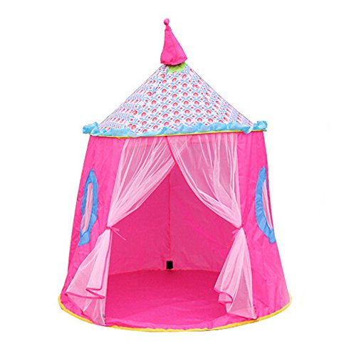 GXOK Portable Tent for Baby Playing, Castle Children Tent House of Games for Kids,Foldable Mosquito Net-Bedding Round Dome Tent (Pink)