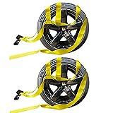 2X Car Basket Straps Adjustable Tow Dolly DEMCO Wheel Net Set Flat Hook
