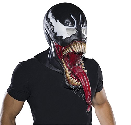 Venom Costumes For Men (Rubie's Costume Co Men's Marvel Universe Deluxe Venom Latex Mask, Black, One Size)