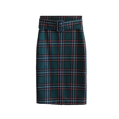 GYYWAN Mujer Elegante Falda A Cuadros A Cuadros Faldas Faldas De ...