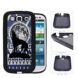 Wolf Howling With Moonlight Aztec Design Rubber Silicone TPU Cell Phone Case Samsung Galaxy S3 SIII I9300