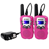 Image of Retevis RT-388 Kids Walkie Talkies Rechargeable FRS/GMRS 22 Channel Walkie Talkies for Kids (Pink,1 Pair)