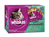 Whiskas Choice Cuts Chef's Favorites Variety Pack Food for Cats, 3-Ounce Pouches (Pack of 48)