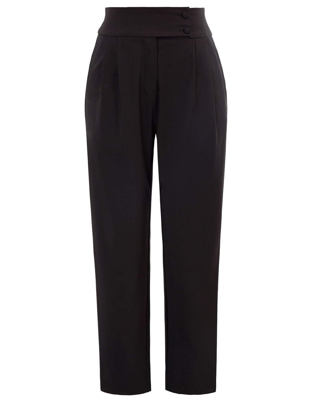 GRACE KARIN Women's Casual Work Cropped Pant Pocket High Waist Button Trouser Pants