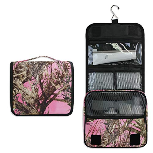 Toiletry Bag Pink Real Tree Camouflage Hanging Travel Toiletry Organizer Kit with Hook and Handle Waterproof Makeup Cosmetic Bag for Men or Women