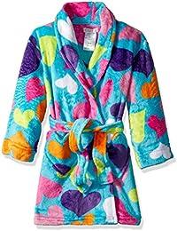 Big Girls' Heart Print Velvet Fleece Robe