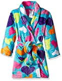 Komar Kids Big Girls' Printed Fleece Robe, Hearts