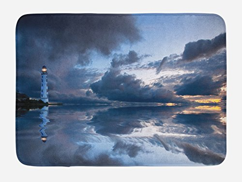 Lunarable Lighthouse Bath Mat, Lighthouse Sailing Dark Clouds Reflection on Atlantic Ccean Rainy Weather Shadow, Plush Bathroom Decor Mat with Non Slip Backing, 29.5 W X 17.5 L Inches, Gray Blue
