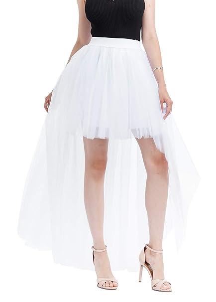 ae5c2921f9 Happy cherry - Falda para Mujer de Tul Blanca Faldas Irregular Princesas de  Gasa para Mujeres de Capas para Carnaval Disfraces Boda Noche Fiesta   Amazon.es  ...