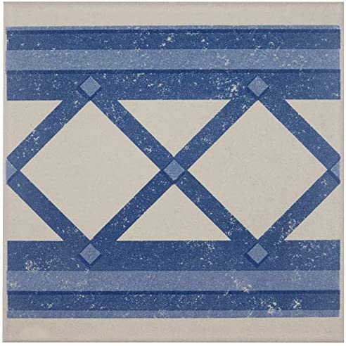 "SomerTile FNU7CQBF Zementu Quatro Ara Porcelain Floor and Wall Border Tile, 7"" x 7"", White/Blue SomerTile FNU7CQBF Zementu Quatro Ara Porcelain Floor and Wall Border Tile, 7"" x 7"", Cenefa, White/Blue 141[並行輸入]"