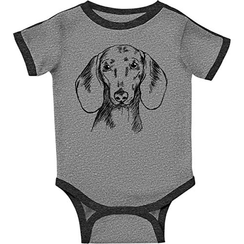 inktastic Dachshund Sketch Infant Creeper Newborn Ringer Heather and - Ringer Dachshund