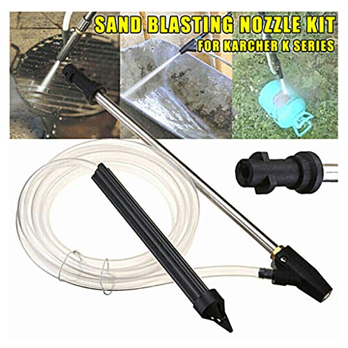 Efaster Sand Blaster Wet Blasting Washer Sandblasting Device Kit,High Pressure Washer Accessories,Car Washer Jet Lance Nozzle,Garden Water Gun,Washer Spray Nozzle,Lawn Watering Sprinkler (Black)