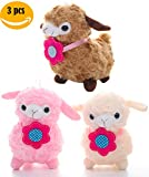 The Little Llamas- Cute Alpaca Stuffed Animal with Flower Ties and Suction Cup -Fuzzy Plush Mini Lamb Toys | Soft Gift for Little Baby Kids or Party Favor | Pink Beige Brown Colors | 9 inch | 3 PCS