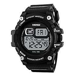 Men Fashion Casual Sports Multifunction Digital LED Electronic Waterproof Watches Dual Time Shockproof PU Strap Wrist Watch with personalized birthday christmas gift card