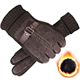 AINIYF Outdoor Gloves | Men's Winter Warm Thicken Plus Velvet Touch Screen Pig Skin Autumn Winter Windproof Cold Tactical Gloves Cycling Motorcycle (Color : #2Brown)