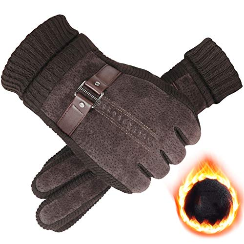 AINIYF Outdoor Gloves | Men's Winter Warm Thicken Plus Velvet Touch Screen Pig Skin Autumn Winter Windproof Cold Tactical Gloves Cycling Motorcycle (Color : #2Brown) by AINIYF (Image #5)