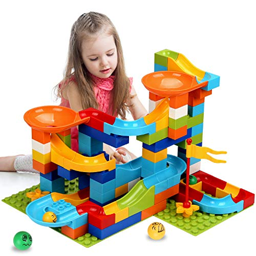 (COUOMOXA Marble Run Building Blocks Construction Toys Set Puzzle Race Track for Kids Marble Roller Coaster -97 Pieces(2 in 1))