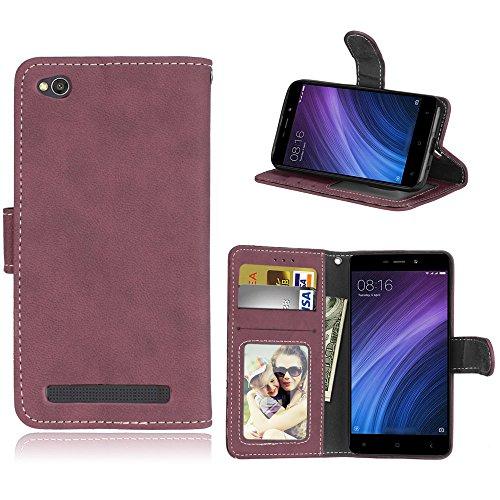 Scheam (for Xiaomi Redmi 4A) Flip Wallet Case Cover and 360 Degree Full Body Protective Bumper Cover, Premium Phone case Material - Rosy