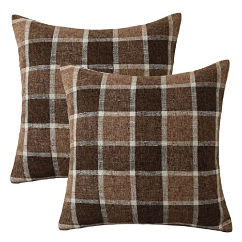 - HOME BRILLIANT Outdoor Decorative Throw Pillow Covers for Sofa Bench Couch Cotton Linen Checker Plaids Cushion Covers, Set of 2, 18 x 18 inches(45x45 cm), Chocolate Bar