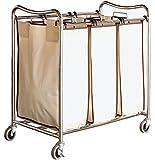 DecoBros Heavy-Duty 3-Bag Laundry Sorter Cart, Chrome