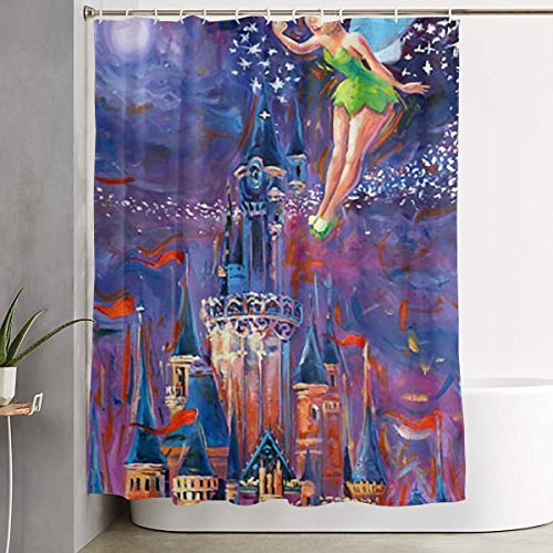 Meirdre Stylish Shower Curtain Tinkerbell Spreading Pixie Dust Printing Waterproof Bathroom Curtain 60 X 72 Inches