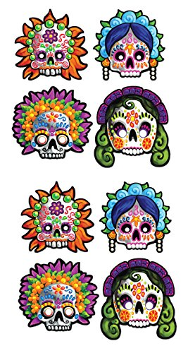 Beistle S00927AZ2, 8 Piece Day Of The Dead Masks, 12''
