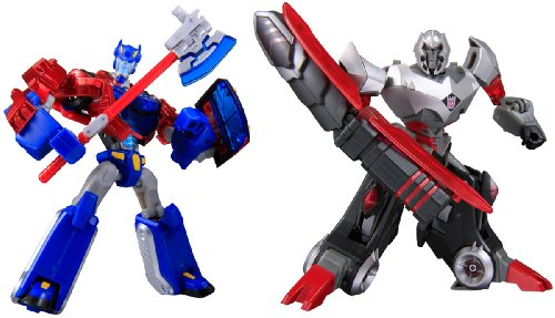 Japanese Transformers Animated - Cybertron Mode Set of Optimus Prime Vs. Megatron with Metallic Fini
