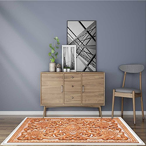 Soft Microfiber Shag Bath Rug wooden thai style craving on wall or roof in temple of Mildew Resistant 5' X 7' by L-QN