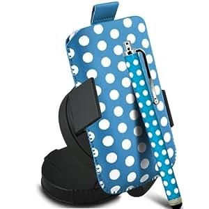 Fone-Case Samsung Galaxy S6810 Fama protectora Polka PU Slip Cable Pull In Pouch Case Quick Release con, 360 giratorio del parabrisas del coche cuna y Mini capacitivo Stylus Pen (Baby Blue & White)