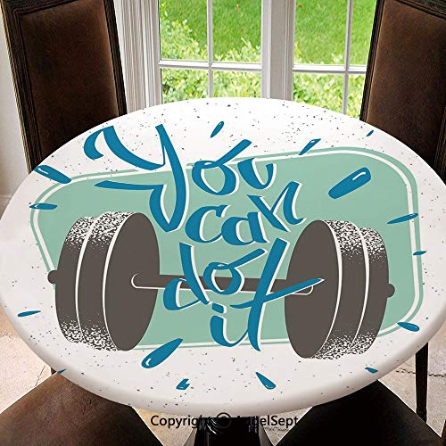 Stain Resistant Elastic Edged Table Cloth Retro Display with Dumbbell Fitness Inspiration You Can Do It Phrase Decorative Perfect for Home or Restaurants Table Protection , Round 55