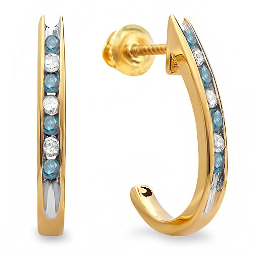 Fancy Yellow Round Diamond - 0.25 Carat (ctw) 18K Yellow Gold Round Blue & White Diamond Ladies Fancy J Shaped Hoop Earrings 1/4 CT