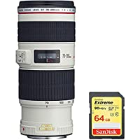 Canon EF 70-200mm f/4L IS USM (1258B002) with Case and Hood with Sandisk 64GB Extreme SD Memory UHS-I Card w/ 90/60MB/s Read/Write