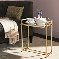 Safavieh Home Collection Renly Mirror Top Gold Leaf End Table