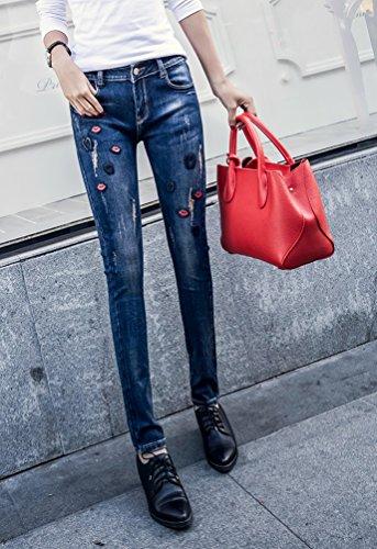 Caldi Dexinx Charme Elegante Magro Blu4 Pantaloni Signore Denim Strappati Outdoor Jeans Estate Slim nrrCP6g
