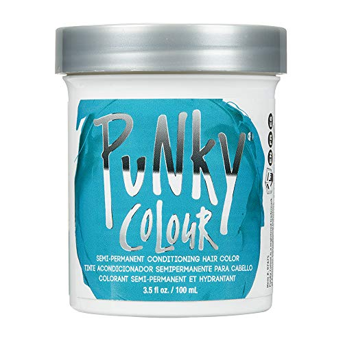 Punky Turquoise Semi Permanent Conditioning Hair Color, Non-Damaging Hair Dye, Vegan, PPD and Paraben Free, Transforms to Vibrant Hair Color, Easy To Use and Apply Hair Tint, lasts up to 25 washes, 3.5oz