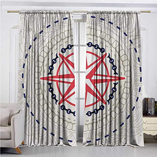 (DESPKON-HOME Drapes/Draperies,Compass Abstract Windrose with Marine Symbols Rope Chains Floral Design Navigation Insulating Darkening Curtains (84W x 72L inch,Hot Pink Blue Grey))