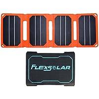 FlexSolar Pocket Power 6.4W Auto-Restart Foldable USB Solar Panel Charger for iPhone LG Samsung Power Bank Orange
