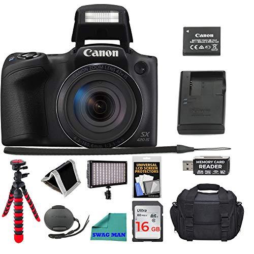 Canon PowerShot SX420 Digital Camera 42x Optical Zoom Wi-Fi NFC Enabled, 16GB SD Card, Screen Protector, Flash Drive, Camera Bag, 12