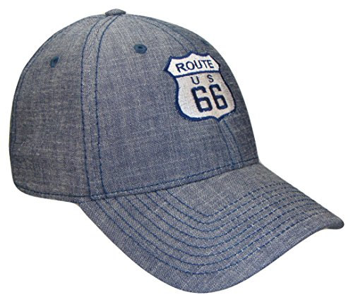 THS Route 66 Denim Adjustable Curved Bill Baseball Cap (One Size, Blue)