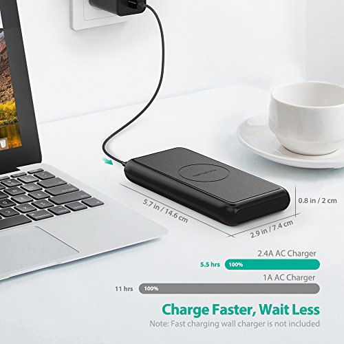 Portable Wireless Charger RAVPower 10000mAh External Wireless Battery Charger 5W Battery Pack for iPhone X, iPhone 8/8 Plus, Qi Wireless Power Bank for S9, S8,Note8 and Qi-Enabled Devices by RAVPower (Image #2)
