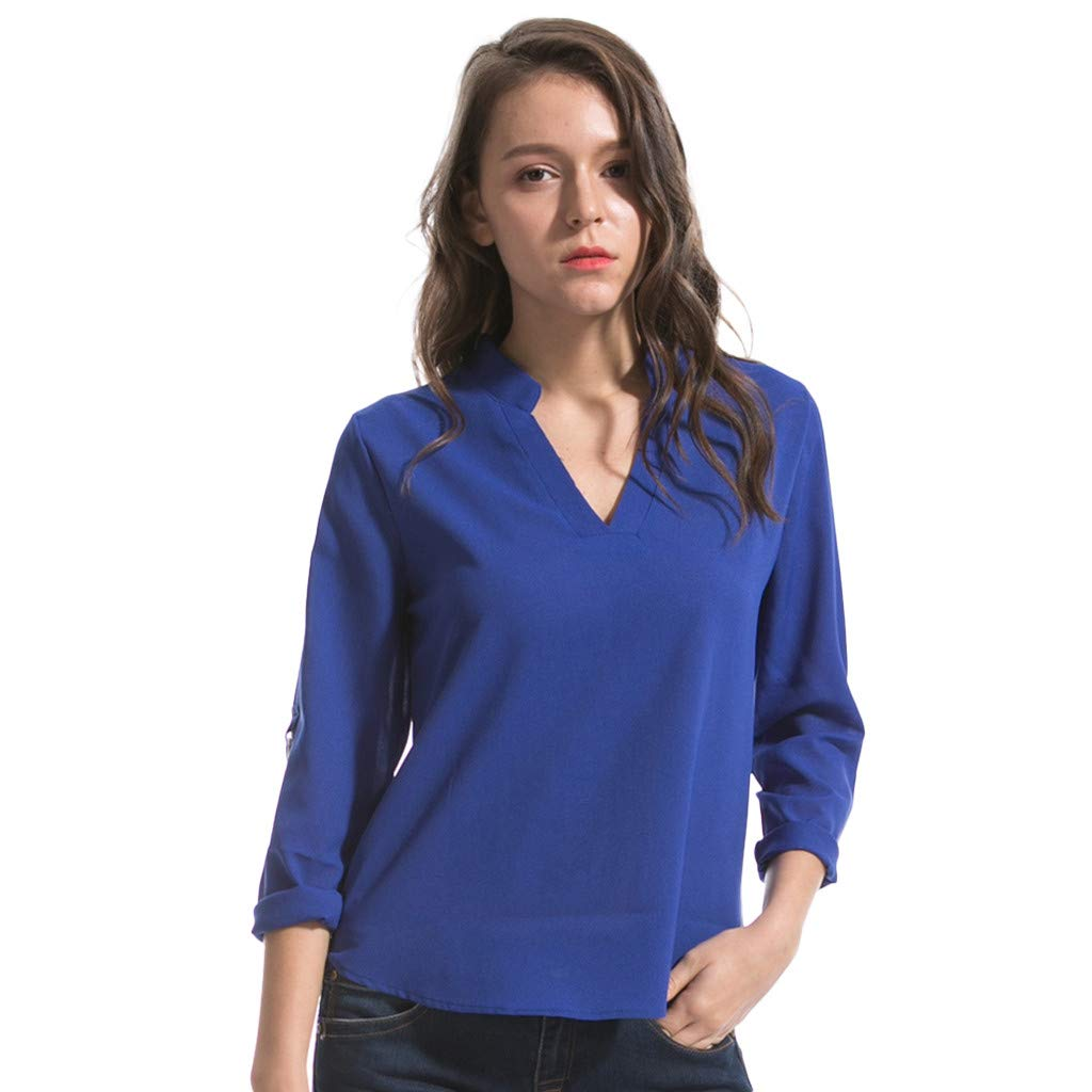 Keliay Cute Womens Tops Summer,Women Fashion S-6XL Long Sleeve Chiffon Shirt Tops V-Neck Casual Blouse Blue by Keliay (Image #1)