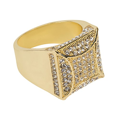 Jewelry4All Iced Out Gold Plated Square Ring with Simulated Diamond Crystals 9