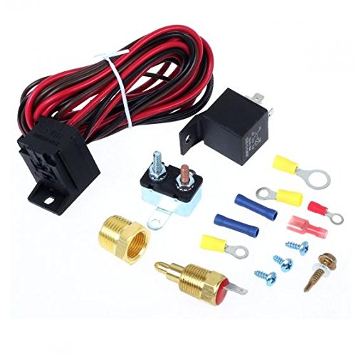 Cooling Fan Thermostat Kit Temp Sensor Temperature Switch RELAY KIT 175~185°